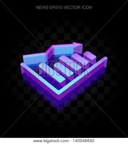 News icon: 3d neon glowing Decline Graph made of glass with transparent shadow on black background, EPS 10 vector illustration.