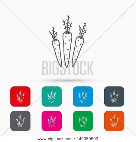 Carrots icon. Vegetarian food sign. Natural vegetables symbol. Linear icons in squares on white background. Flat web symbols. Vector