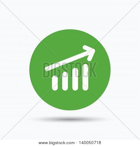 Growing graph icon. Business analytics chart symbol. Flat web button with icon on white background. Green round pressbutton with shadow. Vector