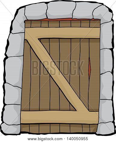 Dungeon Doorway Illustration Over White