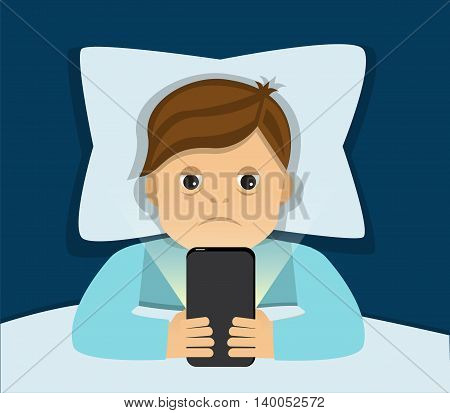 tired man lying in bed and can not sleep because holding a phone