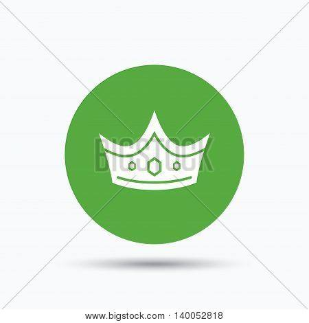 Crown icon. Royal throne leader symbol. Flat web button with icon on white background. Green round pressbutton with shadow. Vector