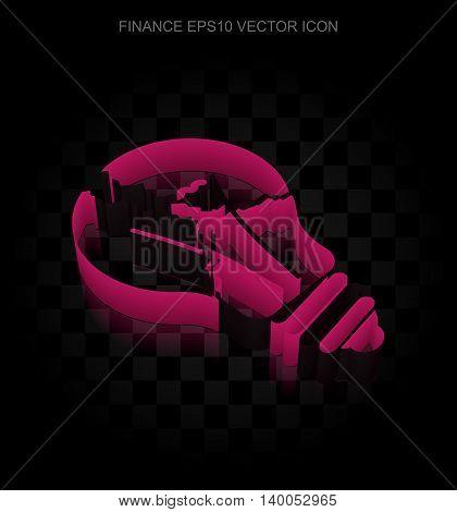 Finance icon: Crimson 3d Light Bulb made of paper tape on black background, transparent shadow, EPS 10 vector illustration.