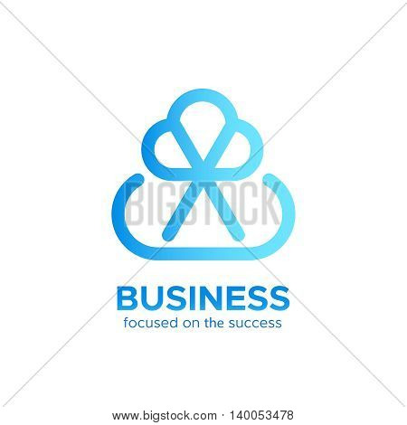 B2B monogram logo vector design concept isolated on white background. Modern corporate identity for business marketing company. Abstract web icon in mono line style with text at the bottom