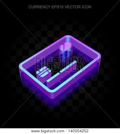 Currency icon: 3d neon glowing Credit Card made of glass with transparent shadow on black background, EPS 10 vector illustration.