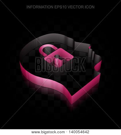 Information icon: Crimson 3d Head With Padlock made of paper tape on black background, transparent shadow, EPS 10 vector illustration.