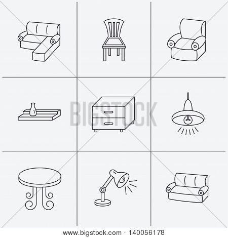 Corner sofa, table and armchair icons. Chair, ceiling lamp and nightstand linear signs. Wall shelf furniture flat line icons. Linear icons on white background. Vector