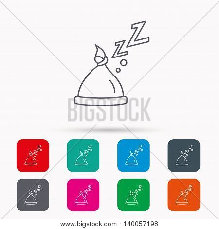 Baby hat with nodule icon. Newborn cap sign. Toddler sleeping clothes symbol. Linear icons in squares on white background. Flat web symbols. Vector