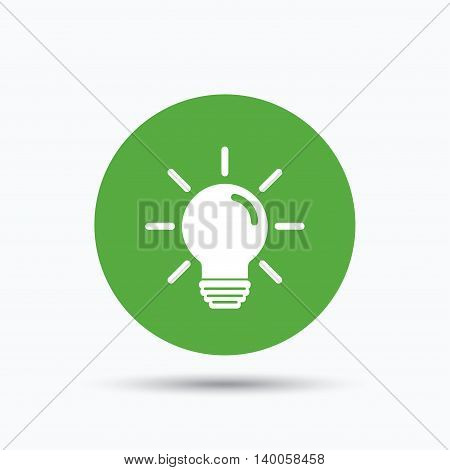 Light bulb icon. Lamp sign. Illumination technology symbol. Flat web button with icon on white background. Green round pressbutton with shadow. Vector