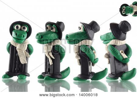 Fun cartoon plasticine crocodile