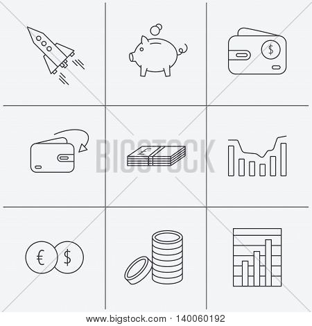 Piggy bank, cash money and startup rocket icons. Wallet, currency exchange and dollar usd linear signs. Chart, coins and dynamics icons. Linear icons on white background. Vector
