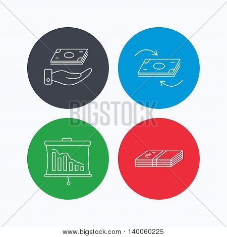 Banking, cash money and statistics icons. Money flow, save money linear sign. Linear icons on colored buttons. Flat web symbols. Vector