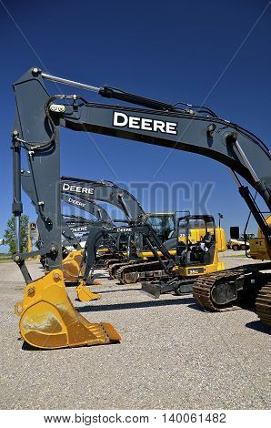 MOORHEAD, MINNESOTA, July 25, 2016: The new backhoes are products of John Deere Co, an American corporation that manufactures agricultural, construction, forestry machinery, diesel engines, and drivetrains.