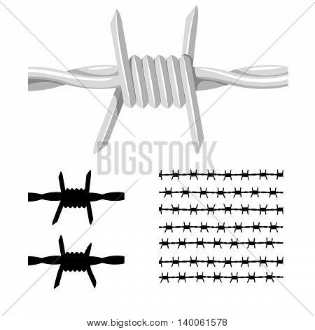 Barbed Wire And It's Silhouette. Barbed Wire And It's Silhouette. Vector Illustration Of A Barbed Wire And It's Silhouette Variations