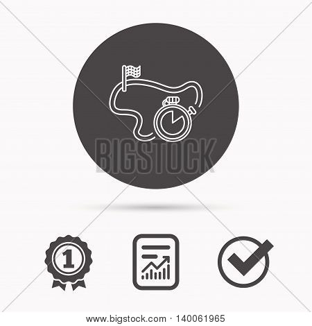 Race road icon. Finishing flag with timer sign. Report document, winner award and tick. Round circle button with icon. Vector