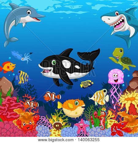funny sea animals cartoon set with sea life