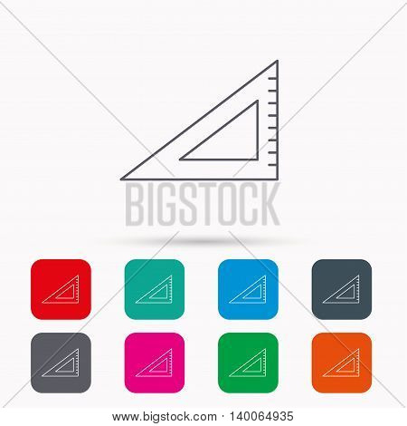 Triangular ruler icon. Straightedge sign. Geometric symbol. Linear icons in squares on white background. Flat web symbols. Vector
