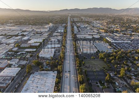 Los Angeles, California, USA - July 21, 2016:  Aerial of San Diego 405 freeway in the San Fernando Valley area of Los Angeles, California.