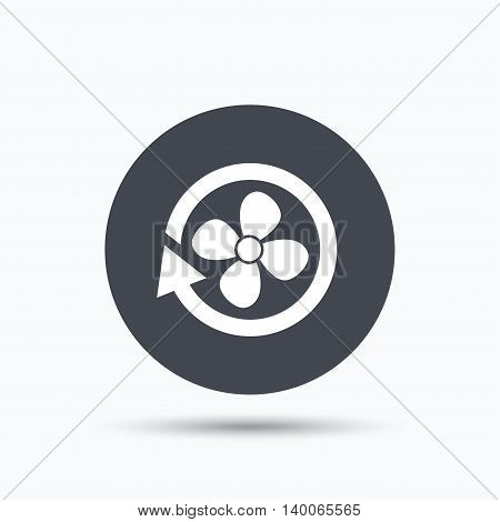 Ventilation icon. Air ventilator or fan symbol. Flat web button with icon on white background. Gray round pressbutton with shadow. Vector