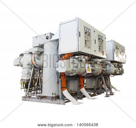 Isolated gas insulated switchgear ( GIS ) on white with clipping path