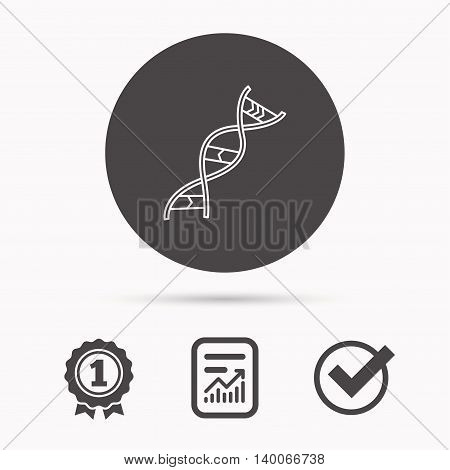 DNA icon. Genetic evolution structure sign. Biology science symbol. Report document, winner award and tick. Round circle button with icon. Vector