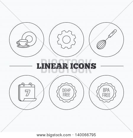 Food and drink, whisk and BPA free icons. DEHP free linear sign. Flat cogwheel and calendar symbols. Linear icons in circle buttons. Vector