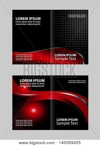 Vector empty bi-fold brochure print template design, bifold bright orange & yellow booklet or flyer