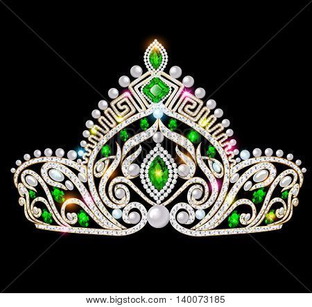 Illustration of a beautiful crown, tiara tiara with gems and pea