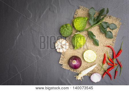 Ingredient or raw food for thai food. Such as Tom-Yum-Kung and curry and etc.