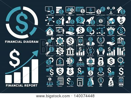 Dollar Finances Flat Vector Icons with Captions. Style is named bicolor blue and white flat icons isolated on a dark blue background.