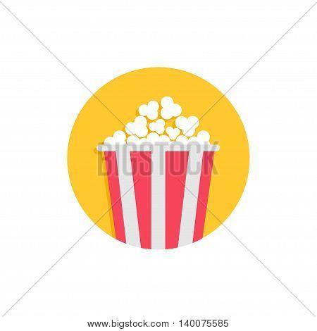 Popcorn box. Movie Cinema round circle icon in flat design style. Tasty food. White background. Isolated. Vector illustration