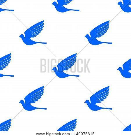 Fly Dove Seamless Pattern. Blue Bird Background