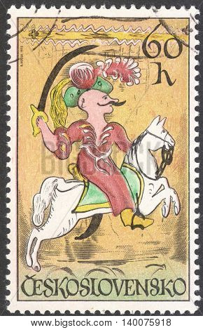 MOSCOW RUSSIA - CIRCA FEBRUARY 2016: a post stamp printed in CZECHOSLOVAKIA shows a Turkish janissary the series