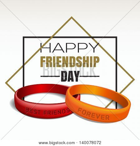 Greeting card for International Friendship Day. Red and orange friendship band with lettering - BEST FRIENDS FOREVER. Typographic design. Vector illustration