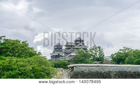 Kumamoto Castle showing the damage after the earthquake struck on April 16, 2016.