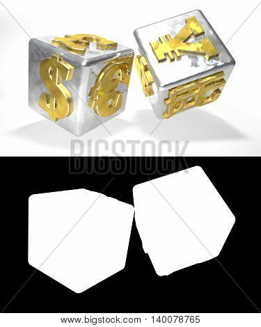 Metallic financial dice on the white background with alfa channel. 3D illustration. Alpha channel