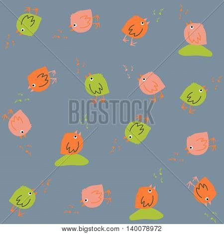 Colorful pattern with cute birds. Seamless. Hand drawn. Animal background in modern pastel colors. Birds singing. Can be used for wallpapers, pattern fills, web page backgrounds, surface textures.