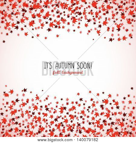 Square frame made from red maple leaves. Copy space. Background of autumn leaves. Frame for text. Autumn concept. Vector illustration.