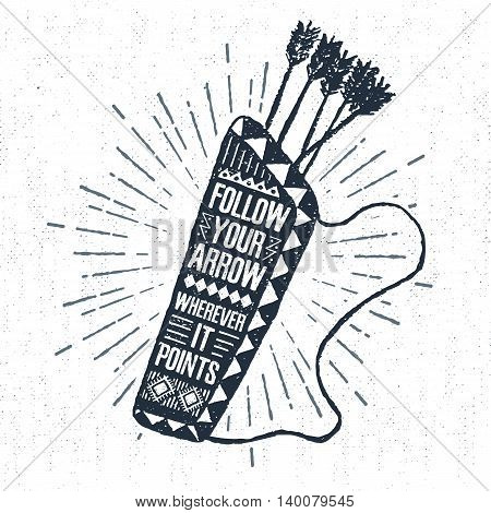 Hand drawn tribal label with textured quiver vector illustration and