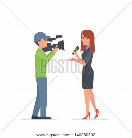 Reporter and video operator character. Journalist do report. Vector illustration.
