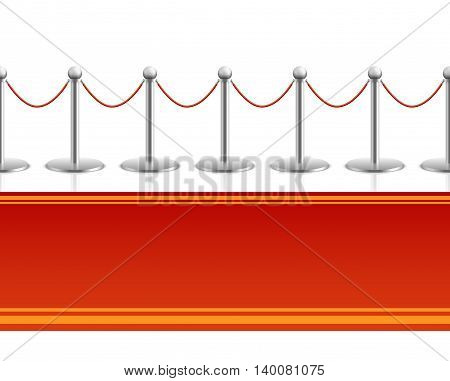Red carpet with barrier rope seamless background. Carpet for entertainment and entrance, seamless carpet for premiere event. Vector illustration
