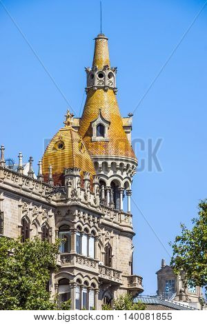 BARCELONA SPAIN - JULY 5 2016: Cases Antoni Rocamora. The building was built by the a brothers in 1917 in Passeig de Gracia Barcelona Spain.