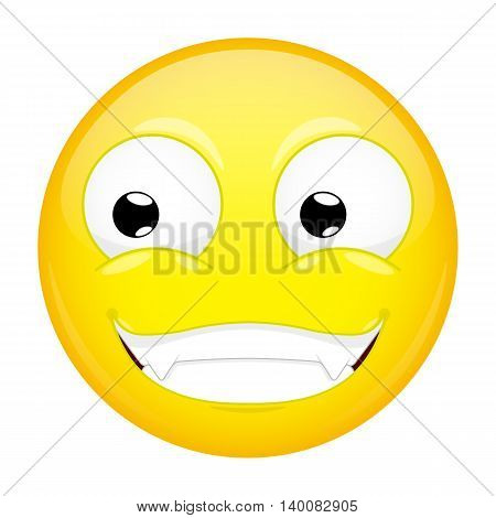 Smiling emoji. Smirk emotion. Grin emoticon. Vector illustration smile icon.