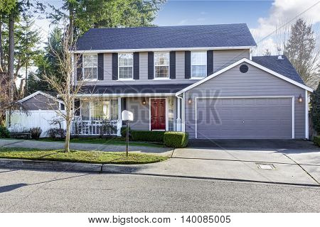 Blue Gray House With French Windows And Red Entrance Door