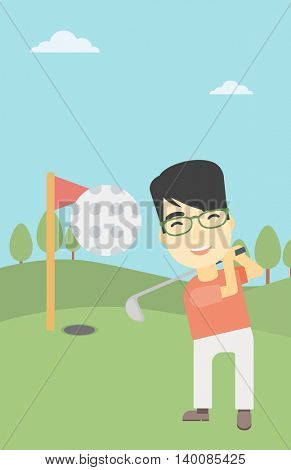An asian golfer with the beard hitting the ball. Professional golfer on golf course. Young man playing golf. Vector flat design illustration. Vertical layout.