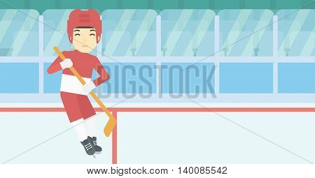An asian female ice hockey player skating on ice rink. Professional ice hockey player with a stick. Sportswoman playing ice hockey. Vector flat design illustration. Horizontal layout.