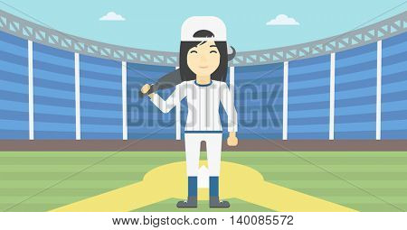An asian young female baseball player standing on a baseball stadium. Female professional baseball player holding a bat on baseball field. Vector flat design illustration. Horizontal layout.