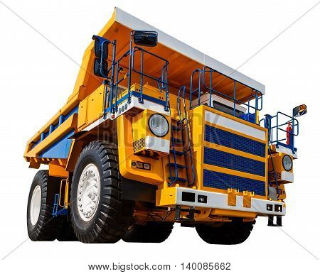 yellow Dumper industrial truck isolated on white background.