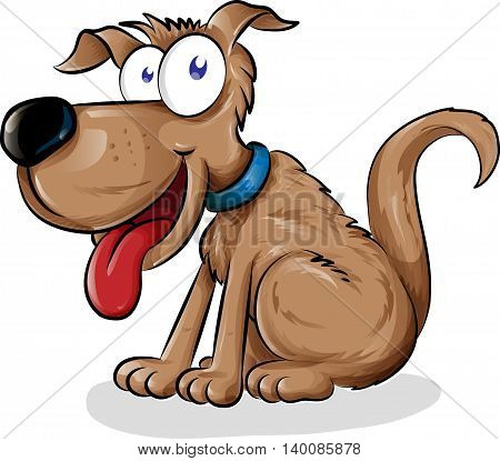 fun dog cartoon isolated on white background