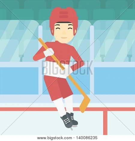 An asian female ice hockey player skating on ice rink. Professional ice hockey player with a stick. Sportswoman playing ice hockey. Vector flat design illustration. Square layout.